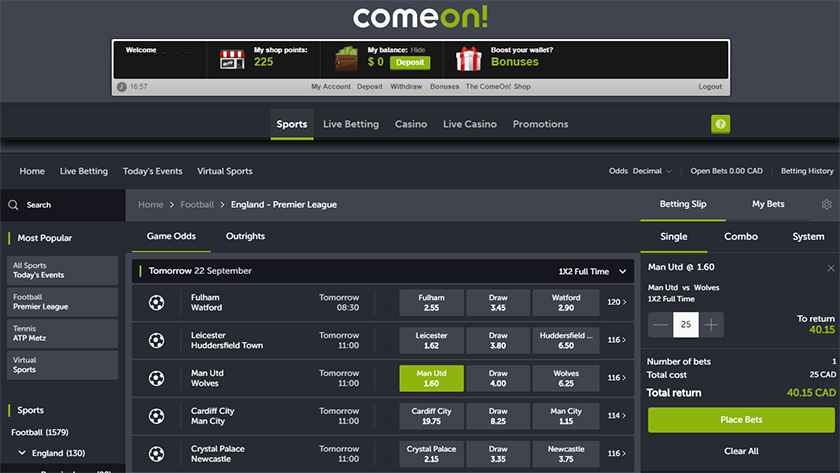 Comeon sports betting how to read sports betting lines